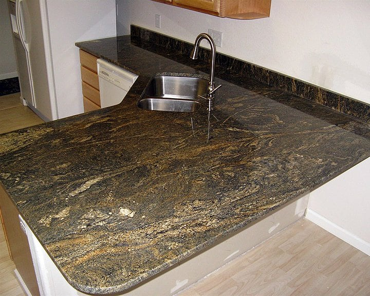 Granite countertop slab in kitchen