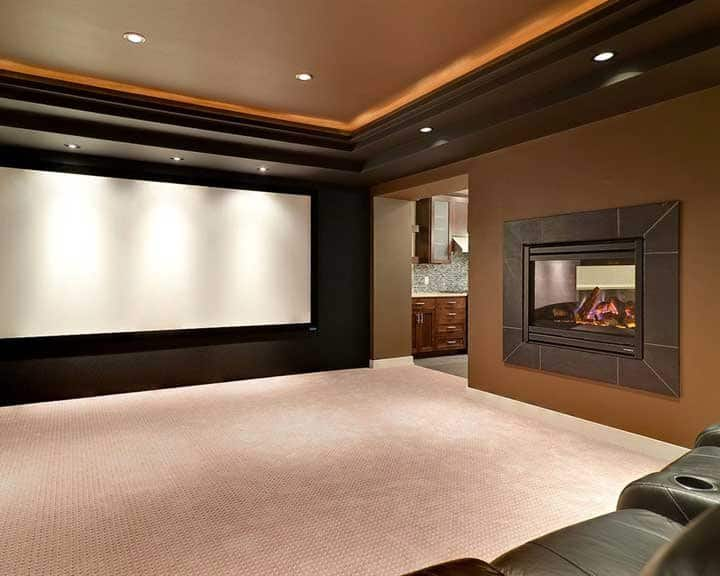 home theater with floor-to-ceiling screen