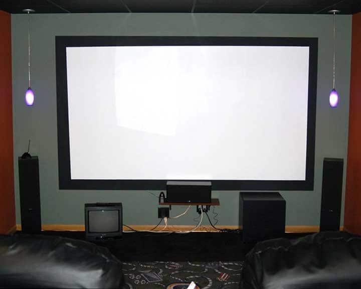 home theater with cost-effective projection screen