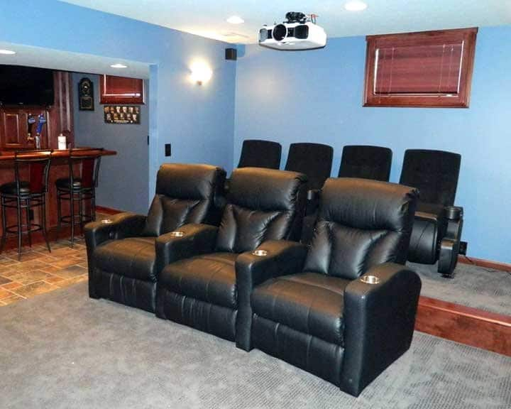home theater with two types of seating