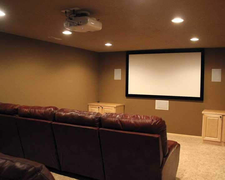 home theater with big screen