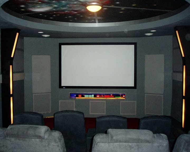 home theater with space theme