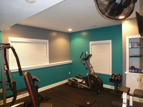 Justin Dill included fans and a TV mount as part of his home gym design. (Photo courtesy of Justin Dill)
