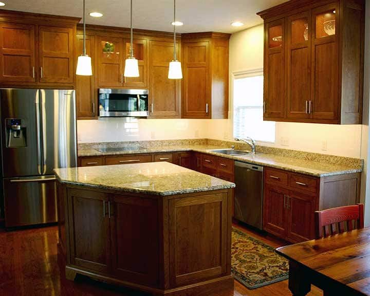 custom-built cherry cabinets