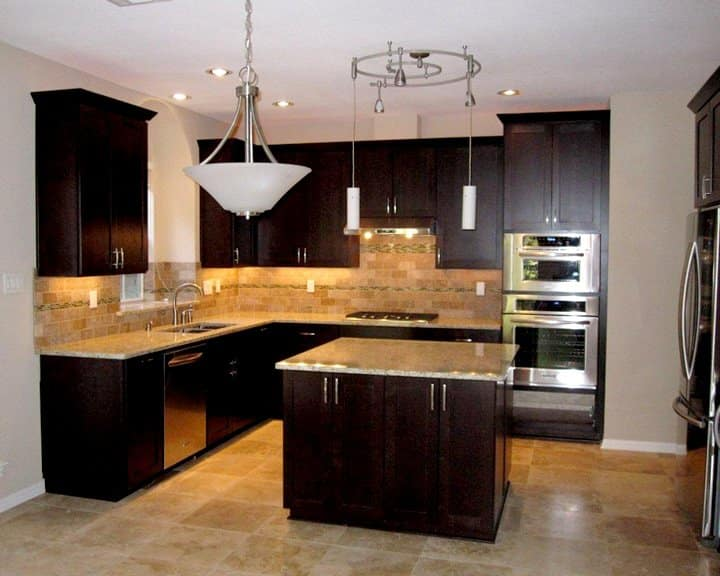 kitchen remodel with dark wood cabinets