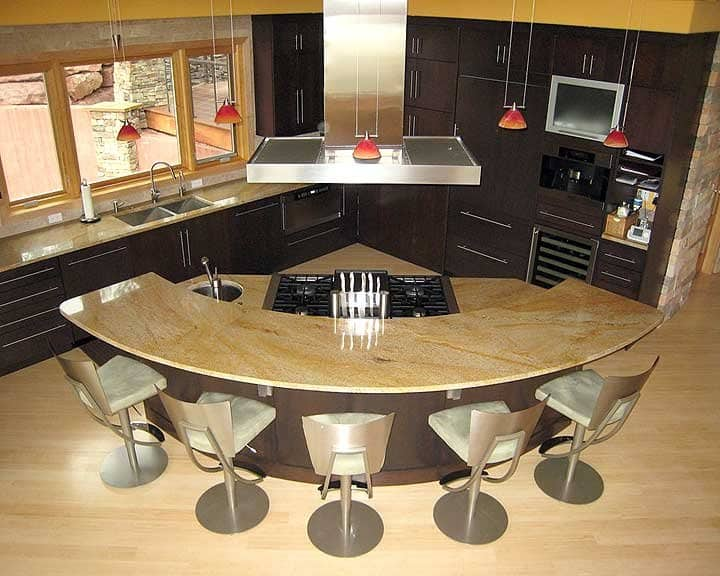 Kitchen island design photos images angie 39 s list for Curved island kitchen designs