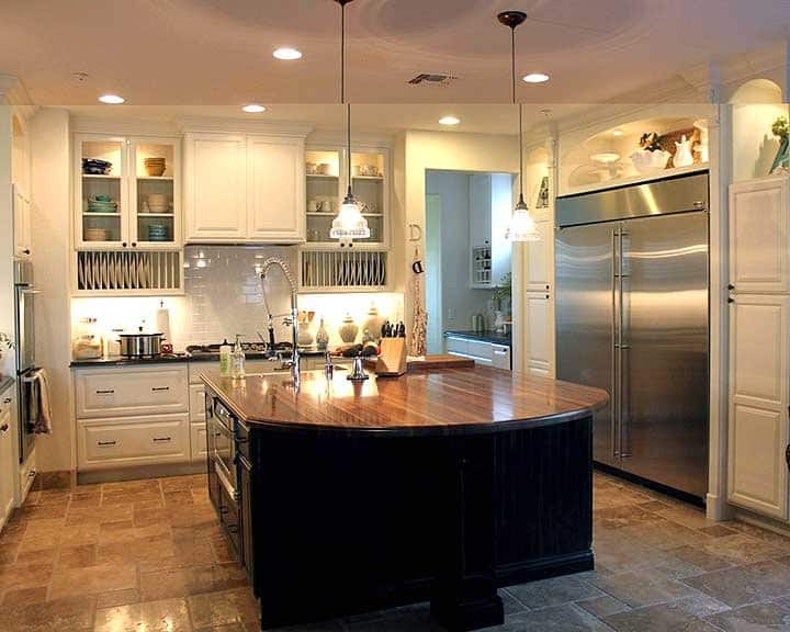 kitchen island with butcher block