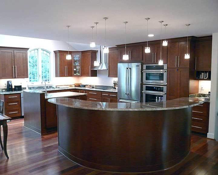 curved kitchen island