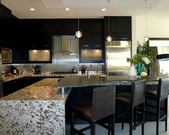 kitchen island with serving area