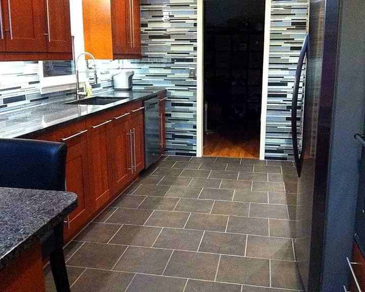 kitchen remodel with colorful glass tile backsplash