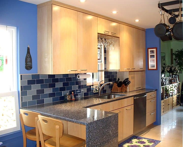 kitchen remodel with blue interior painted walls and blue ceramic tile
