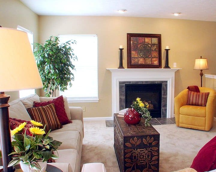 living room staged for sale