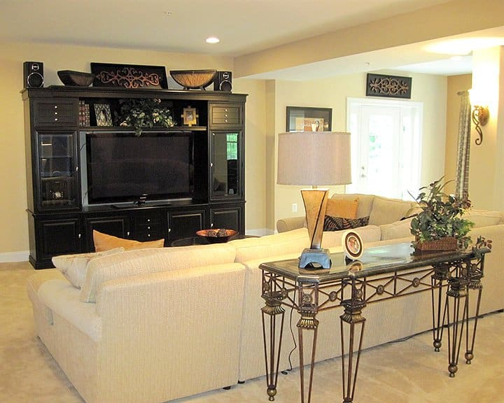 living room design with large tv wall unit