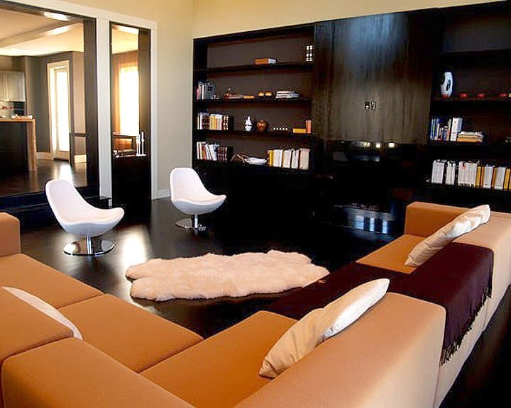 modern living room design with white chairs