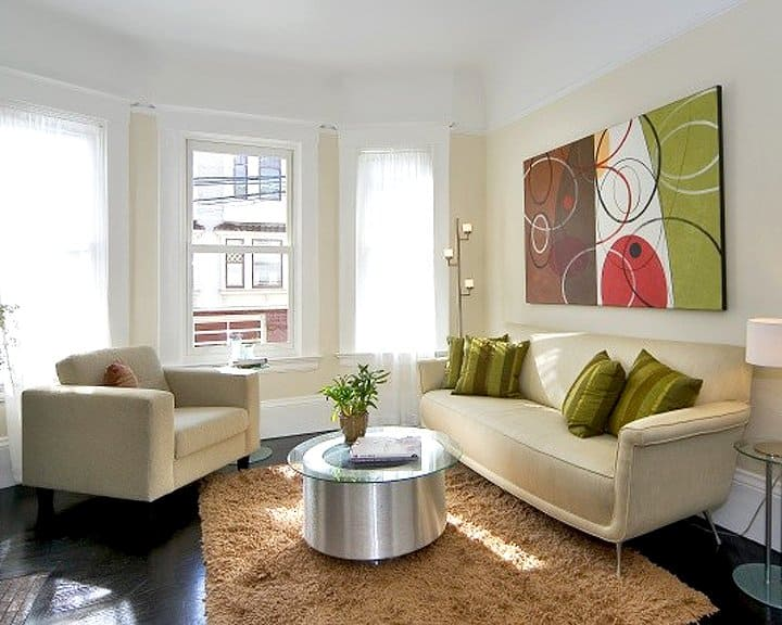 living room design with view of San Francisco streets