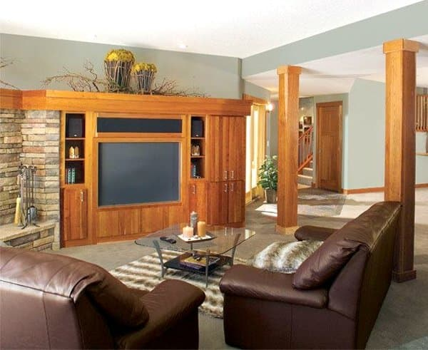 living room with custom TV cabinet