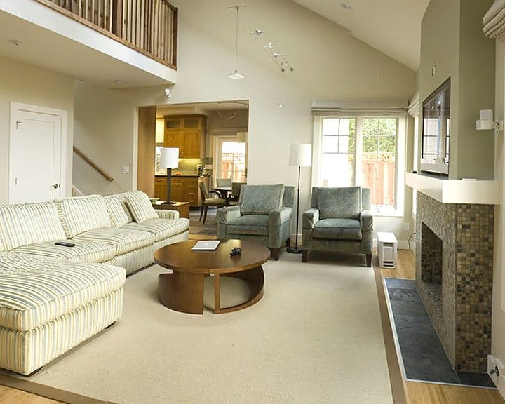 living room design with natural light from windows