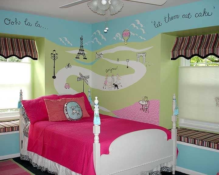 Paris Themed Mural In Girlu0027s Bedroom Part 53