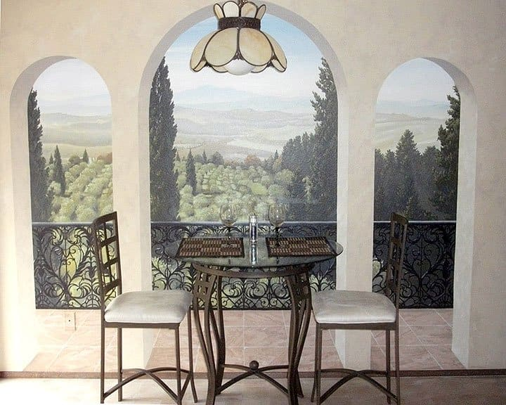 mural of Tuscany with artificial view