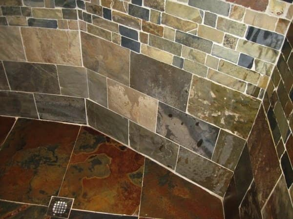 Slate was added to the shower floor and wall prior to a color enhancement. (Photo courtesy of Anthony Gonzalez)