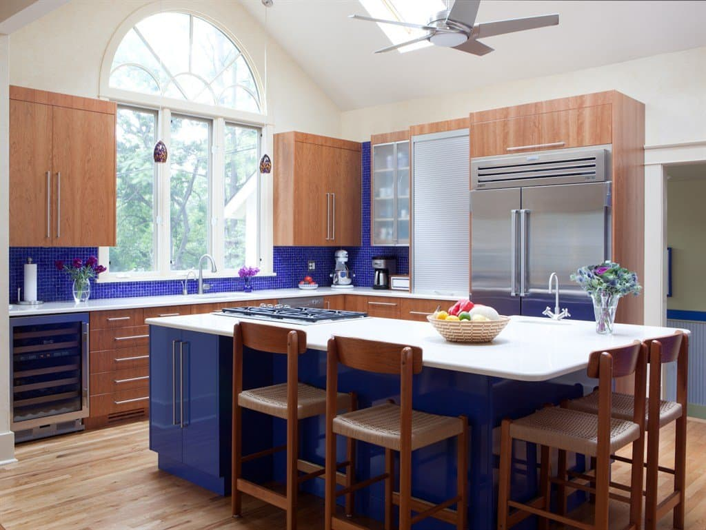 kitchen remodel with blue accents, new cabinets and appliances