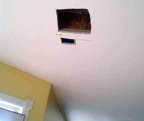 If your skills are limited, consider hiring a drywall contractor to fix large holes. (Photo courtesy of Andrew Katz)