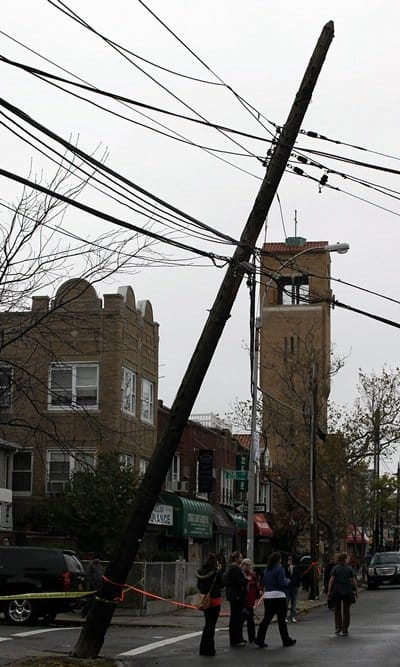 Outside, Hurricane Sandy's winds mangled utility poles and power lines, while its saltwater soaked many electrical systems within the house. (Photo by Brandon York)