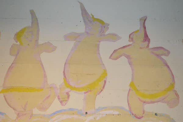 """Film historian Tom Sito says these scenes may have been painted by animators who worked on """"Dumbo."""" (Photo courtesy of Christine Coyle Johnson)"""