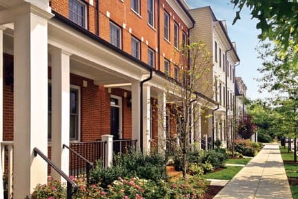 The Old Town Commons development in Alexandria, Va., is one of several walkable neighborhoods in the D.C. metro area designed by The Neighborhoods of EYA. (Photo by Johnny Vitorovich)