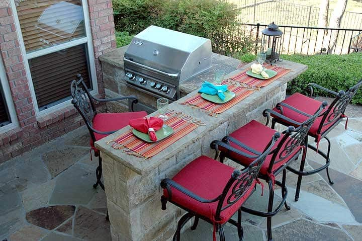outdoor living area with outdoor kitchen