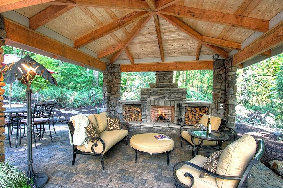 outdoor living area with outdoor fireplace