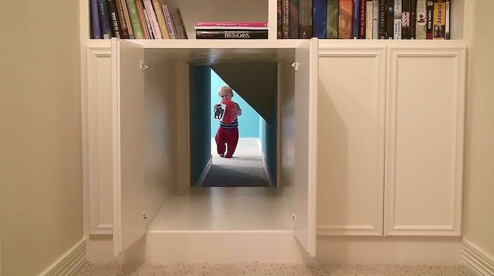 secret passage way through bookcase