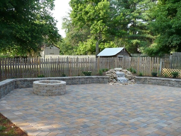 patio with fireplace and patio pavers