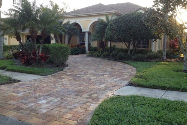 Homeowners that want to install driveway pavers and remove their existing concrete can recycle the old material, continuing to be a good steward of the environment, says Wood. (Photo courtesy of Angie's List member Joyce T. of Tampa, Fla.)