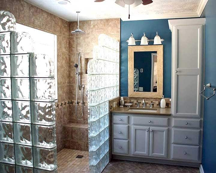 Walk In Shower With Glass Block Surround