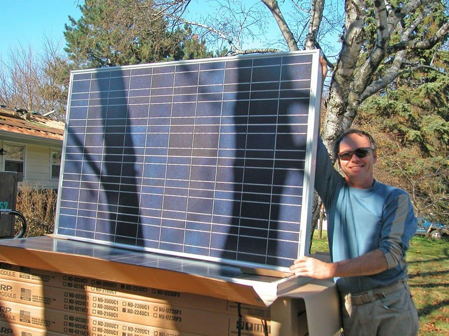 homeowner shows off solar panel system
