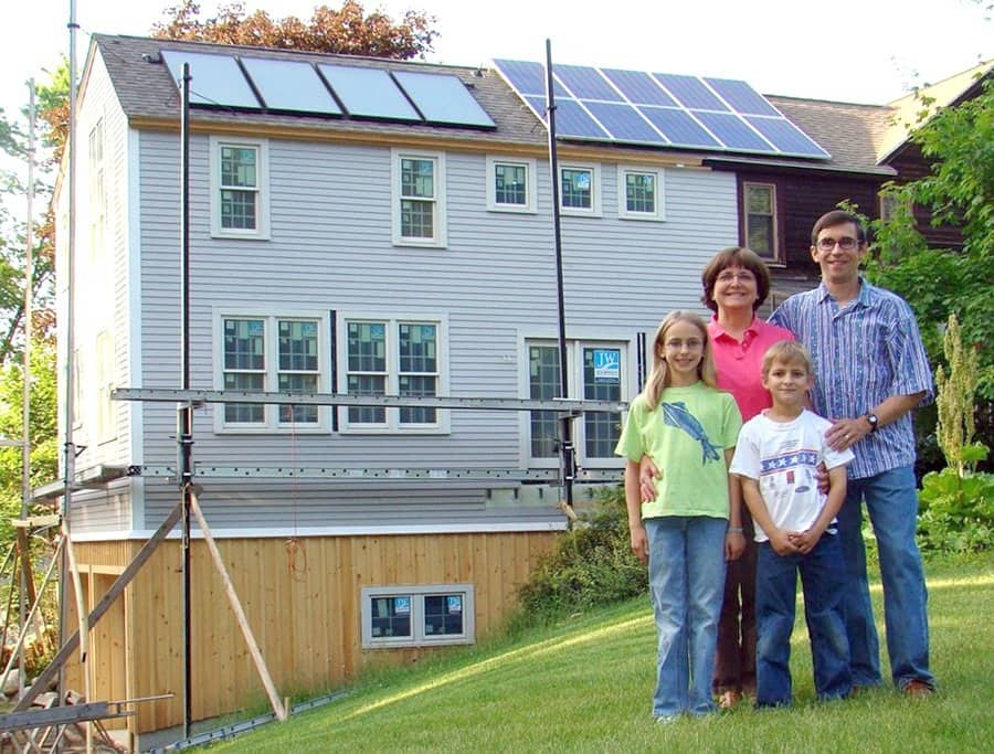 solar panels on roof of family home