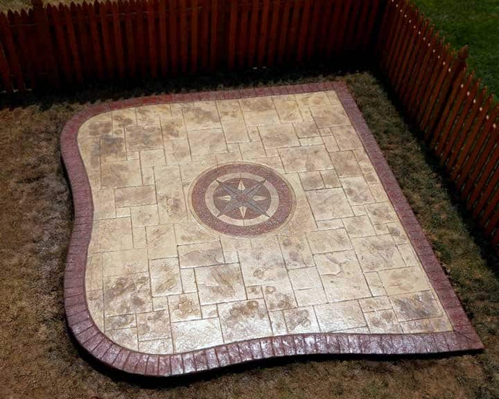 stamped concrete patio with inlaid design