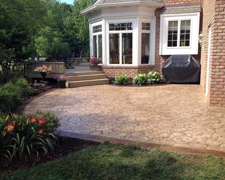 patio with stamped concrete
