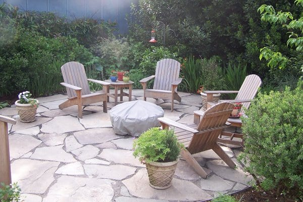outdoor patio hardscaped with stone