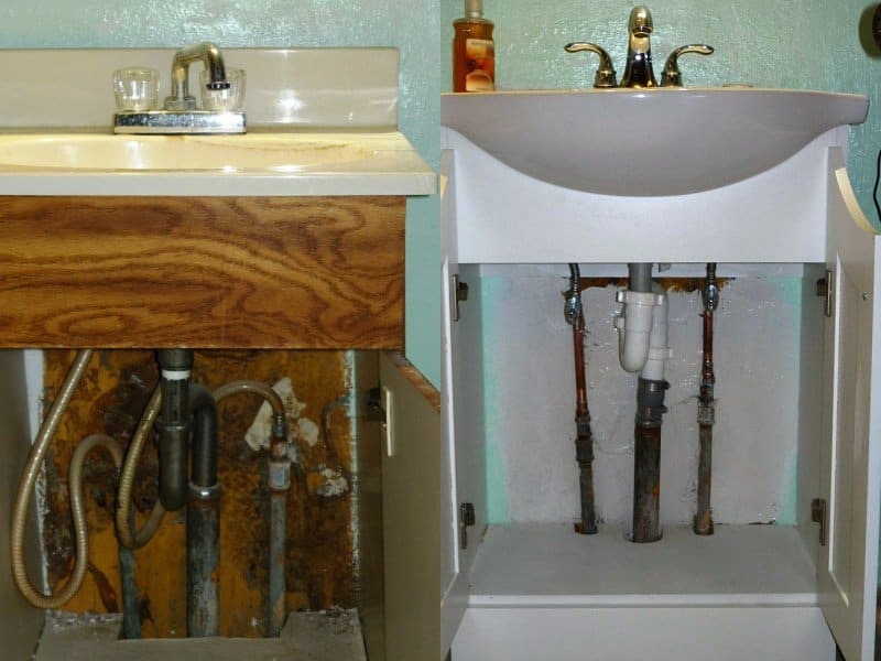 This member hired a highly rated plumber to replace all the plumbing for a replacement vanity and sink. (Photo courtesy of Angie's List member John S. of  Bradenton, Fla.)