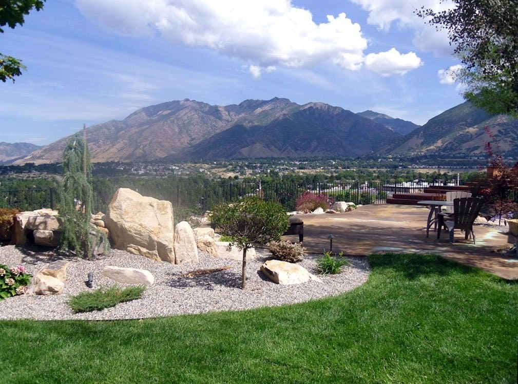 backyard view with mountain landscape
