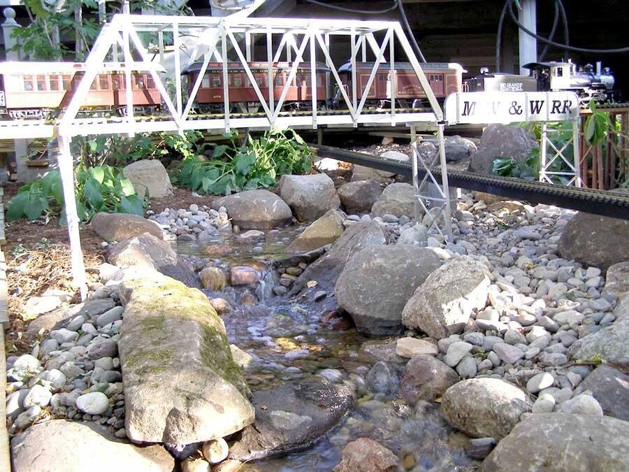 backyard train and waterfall