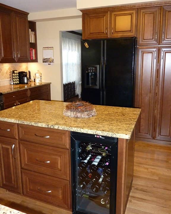 refrigerated wine cabinet in kitchen island