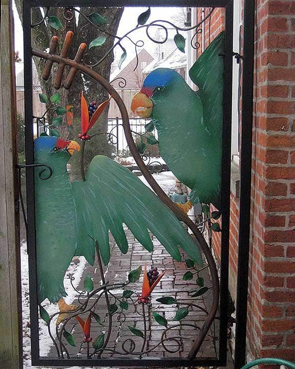 wrought iron gate with colorful design