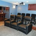 home theater in basement remodel