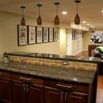 basement remodel with bar area