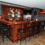 custom wet bar in basement remodel