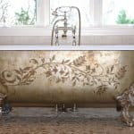 clawfoot tub with painted details