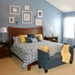 bedroom design with blue and yellow color pallet